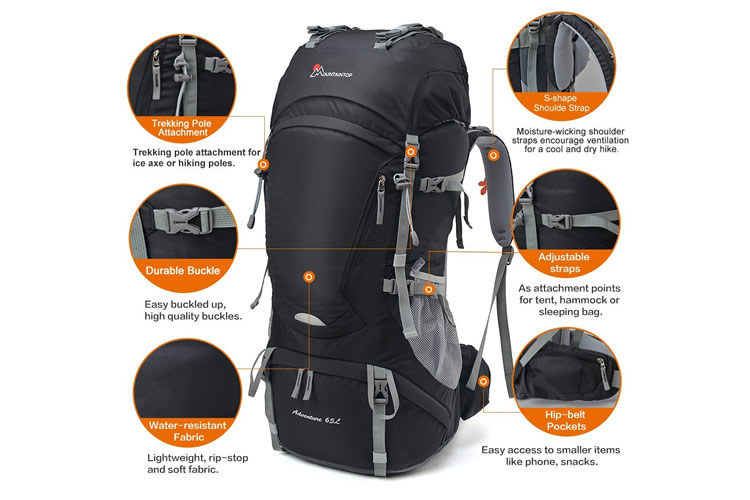 Mountaintop 65L Water-Resistant Hiking Backpack 8a82dd2f51fe3