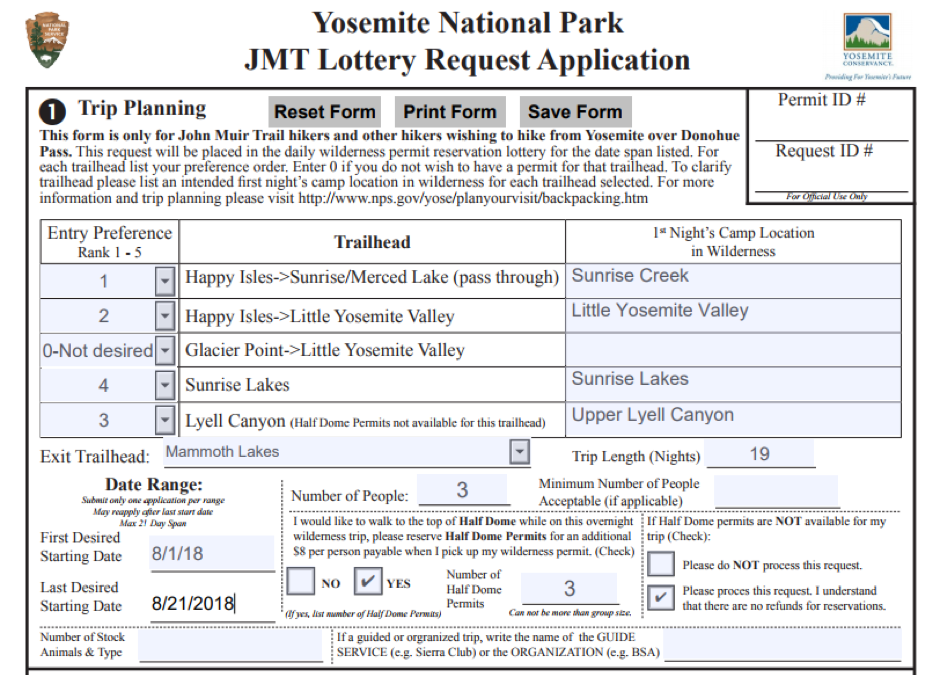 JMT sample permit application